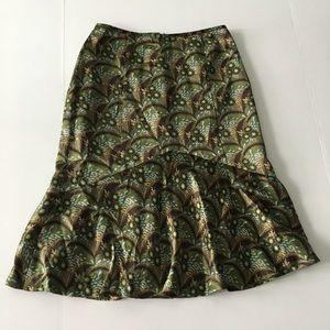 Loft Ann Taylor 100% silk flare midi skirt lined